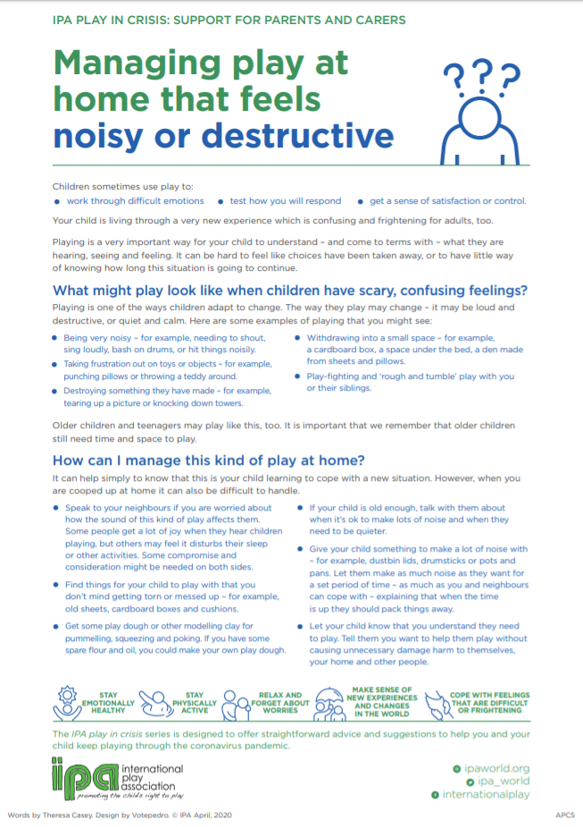 Managing play at home that feels noisy or destructive