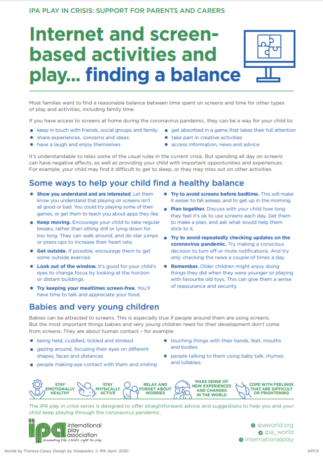 Internet and screen-based activities and play… finding a balance