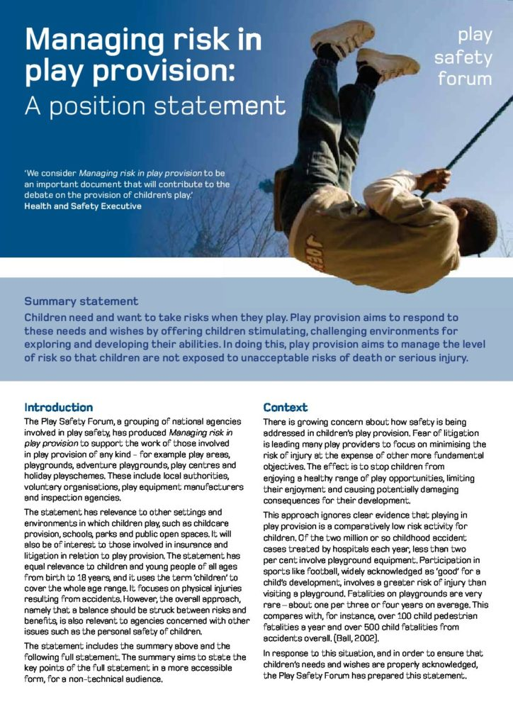 Managing Risk in Play Provision Position Statement