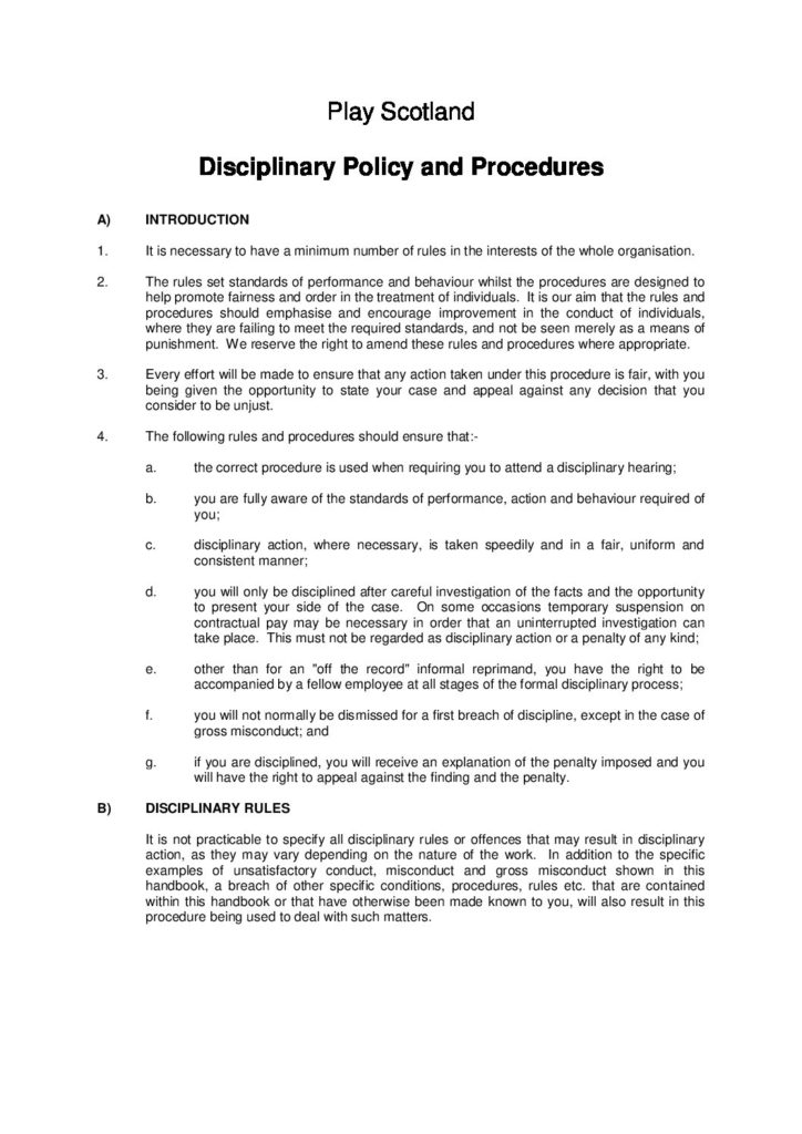 Play Scotland Disciplinary Policy and Procedures