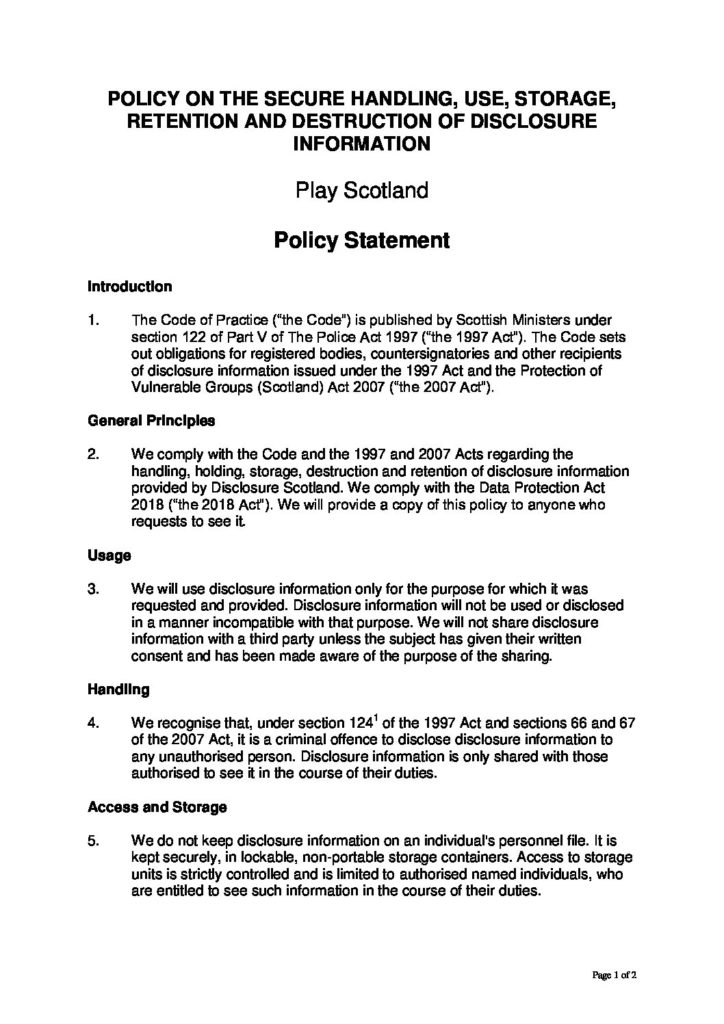 Play Scotland Disclosure Policy