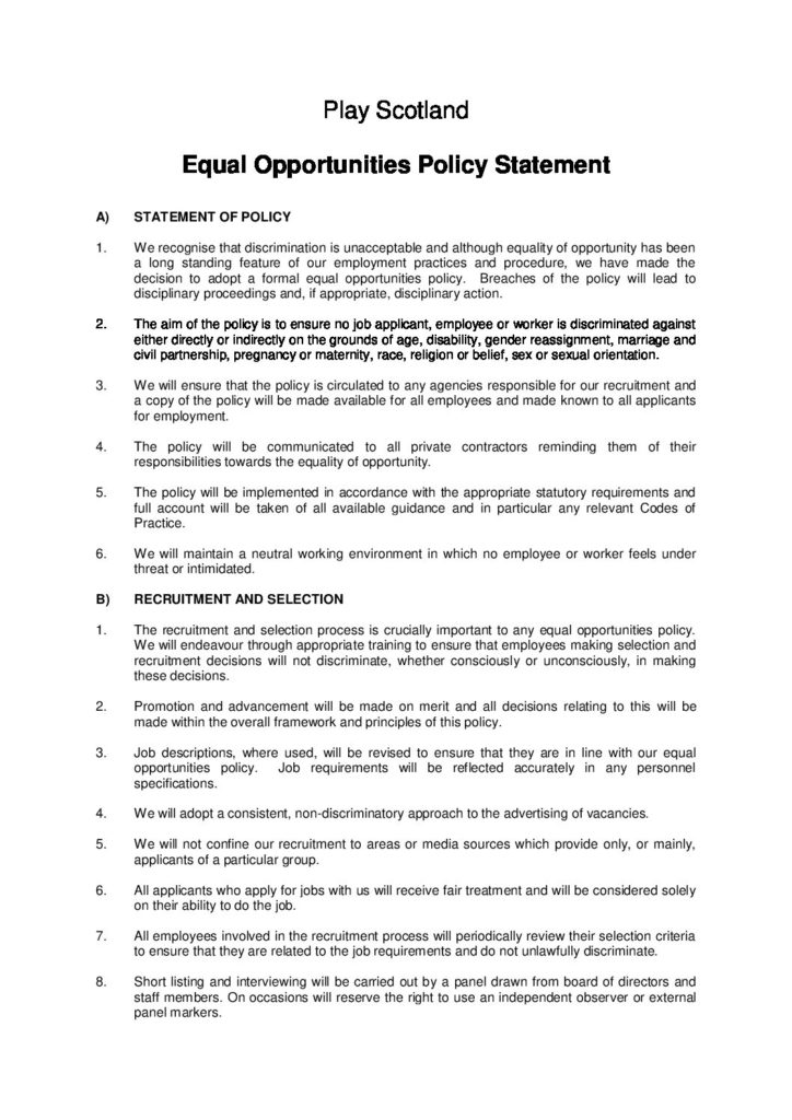 Play Scotland Equal Opportunities Policy
