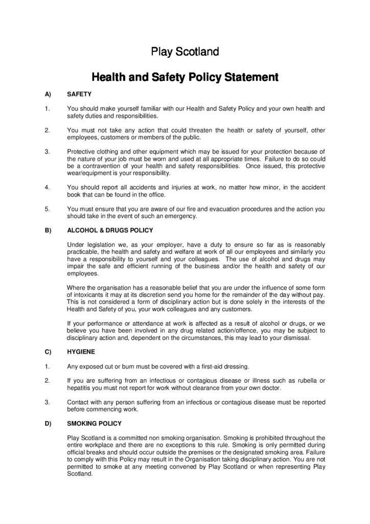 Play Scotland Health and Safety Policy