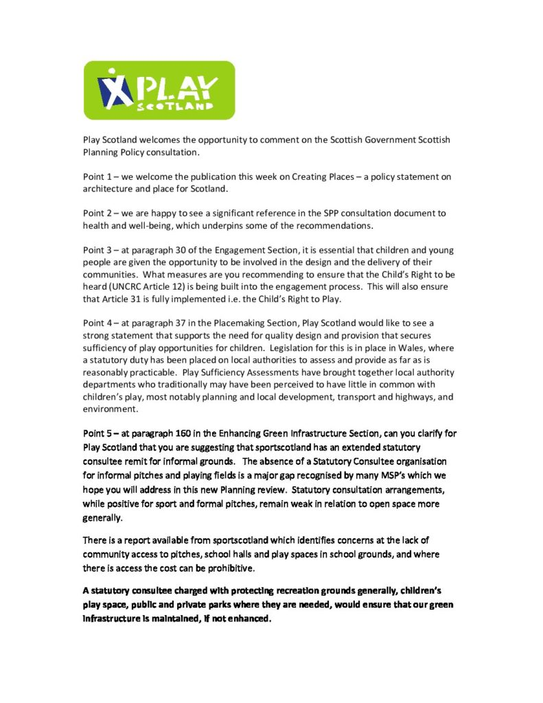 Play Scotland SPP consultation July 2013