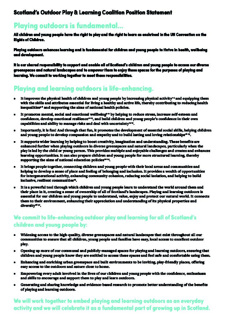 Scotland's Outdoor Play and Learning Coalition Position Statement
