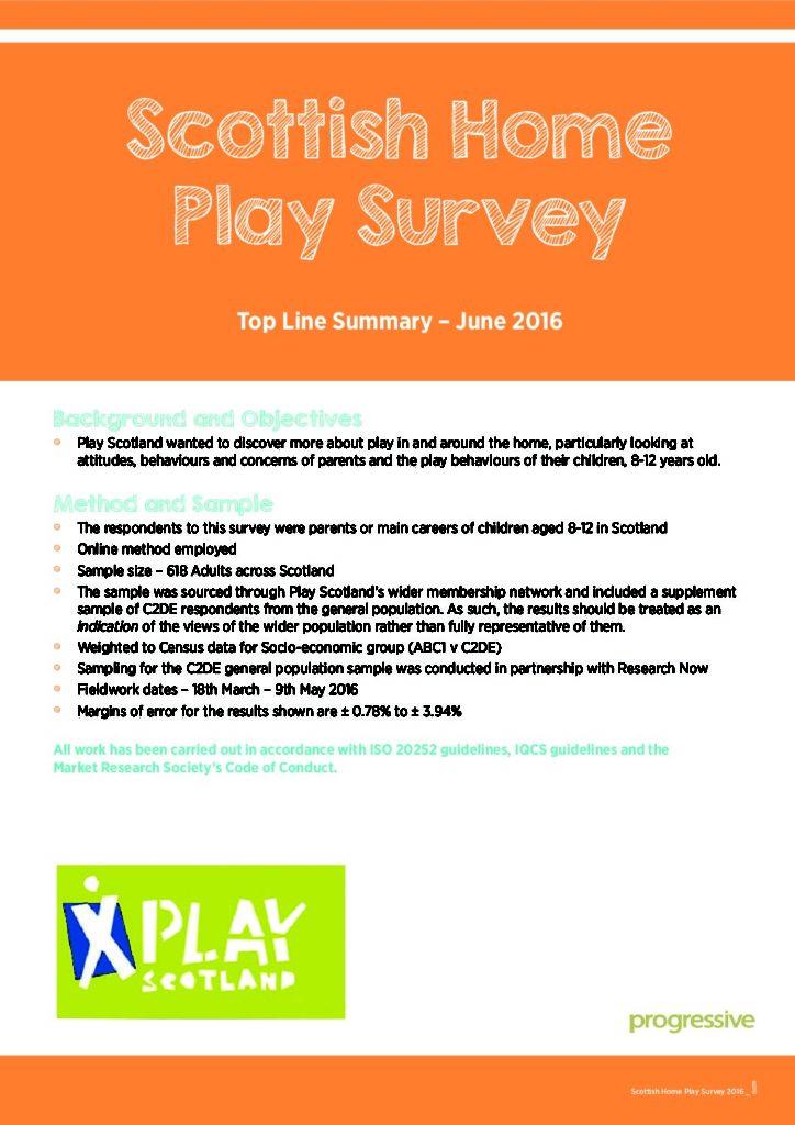 Scottish Home Play Survey – June 2016 – Top Line Summary