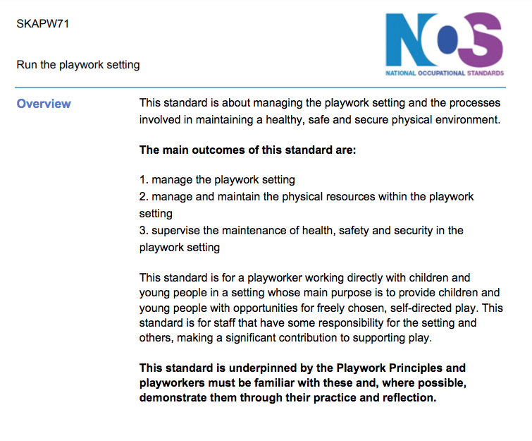 NOS for Playworker in charge
