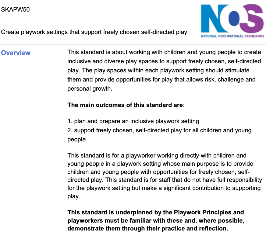 NOS for Playworker/Playwork Practitioner
