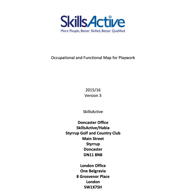 Occupational and functional map for playwork