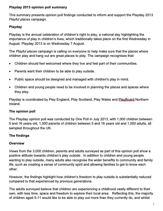 Playday 2013 opinion poll summary