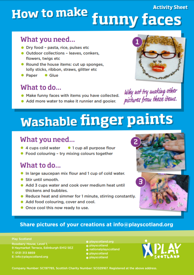 A5: how to make funny faces and washable finger paints