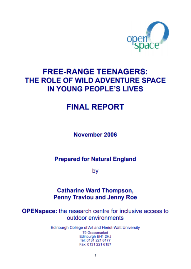 Free-range teenagers: the role of wild adventure space in young people's lives