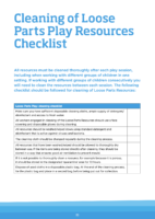 Cleaning of Loose Parts Play Resources Checklist