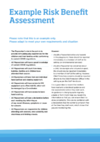 Example Risk Benefit Assessment