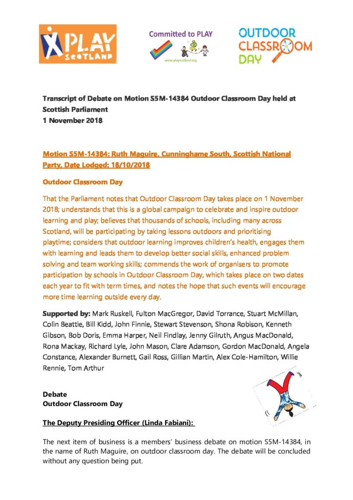 Transcript of Debate on Motion S5M-14384 Outdoor Classroom Day