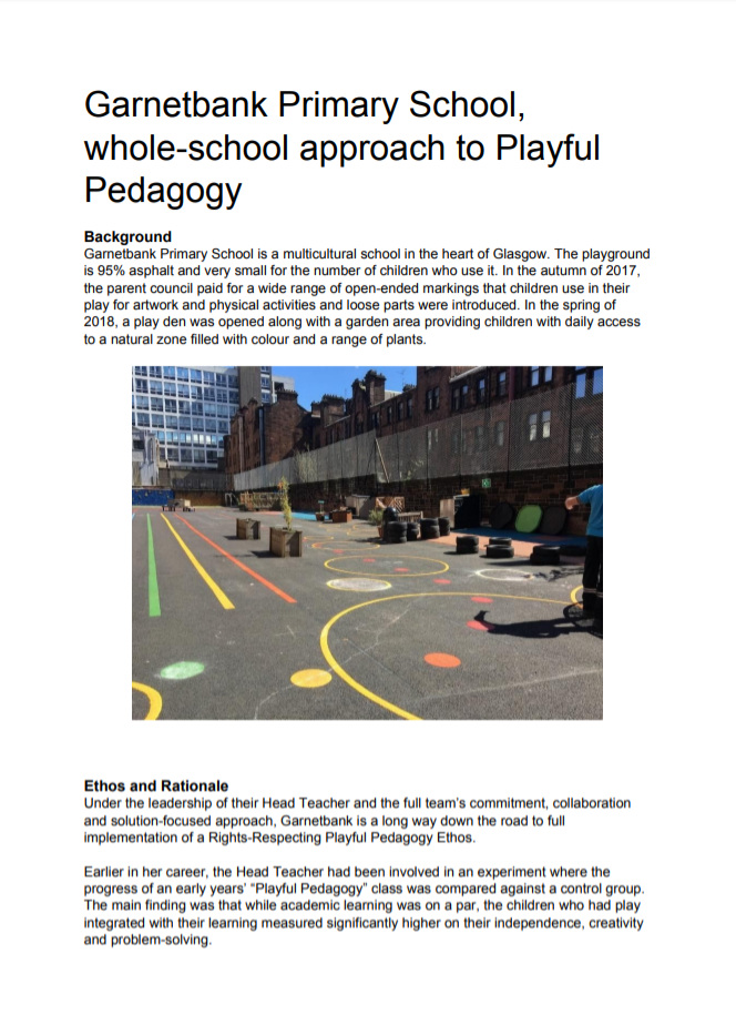 Garnetbank Primary School, whole-school approach to Playful Pedagogy