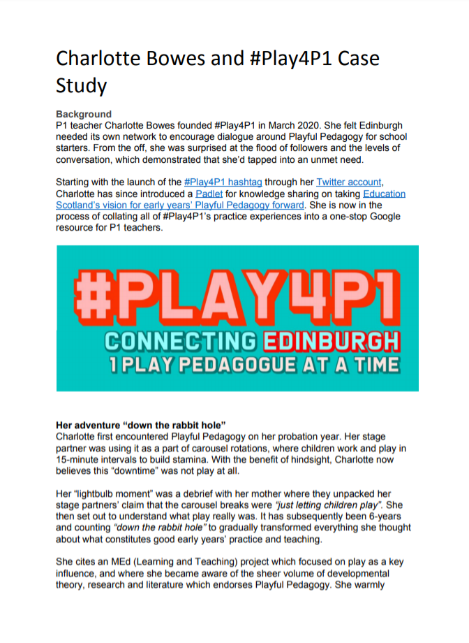Charlotte Bowes and #Play4P1 Case Study